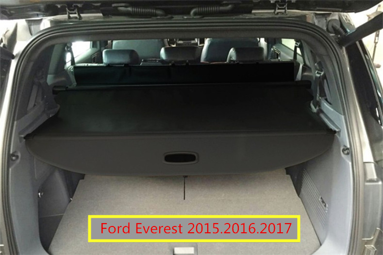 Car Rear Trunk Security Shield Cargo Cover For Ford Everest 2015.2016.2017 High Qualit Black Beige Auto Accessories car rear trunk security shield shade cargo cover for toyota highlander 2009 2010 2011 2012 2013 2014 2015 2016 2017 black beige