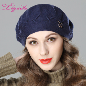 Image 4 - Liliyabaihe New women winter hat Wool knit berets, caps latest popular decoration solid colors fashion lady hat