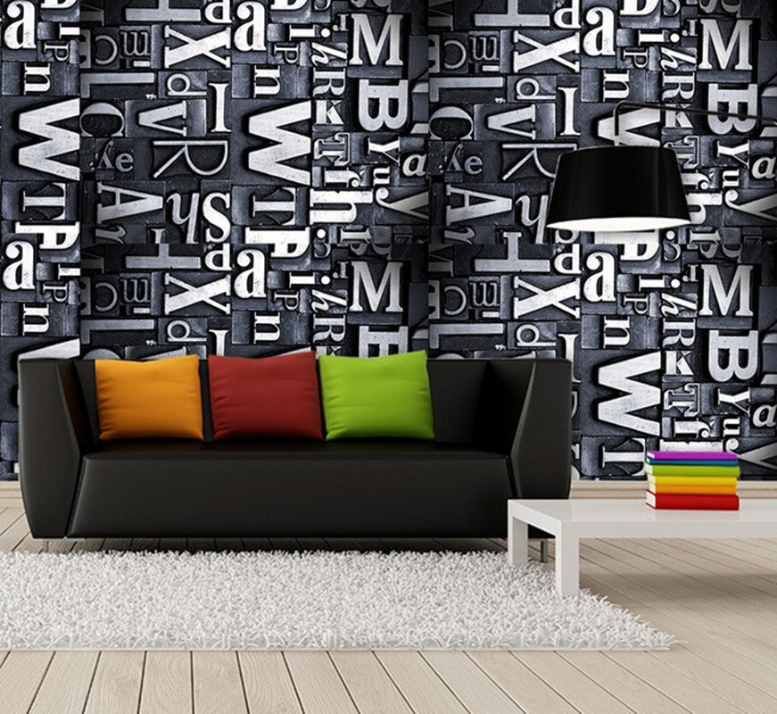 Custom 3D large mural,retro metal texture stereo alphabet ,3D papel de parede for living room sofa TV wall bedroom wallpaper PVC custom photo wallpaper large mural wall stickers 3d stereo digital english living room tv wall papel de parede
