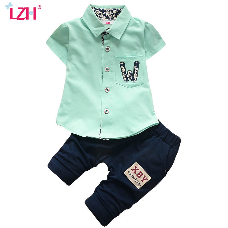 LZH Toddler Boys Clothing Sets 2017 Summer Baby Boys Clothes Shirt+Pants Kids Tracksuit Sport Suit For Boys Children Clothes Set dondup брюки капри