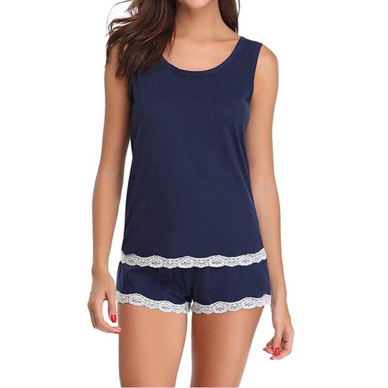 Women's Sleepwear Sexy Satin Pajama Set Black Lace O-Neck Pyjamas Sleeveless Cute Tank Top and Shorts Pijama