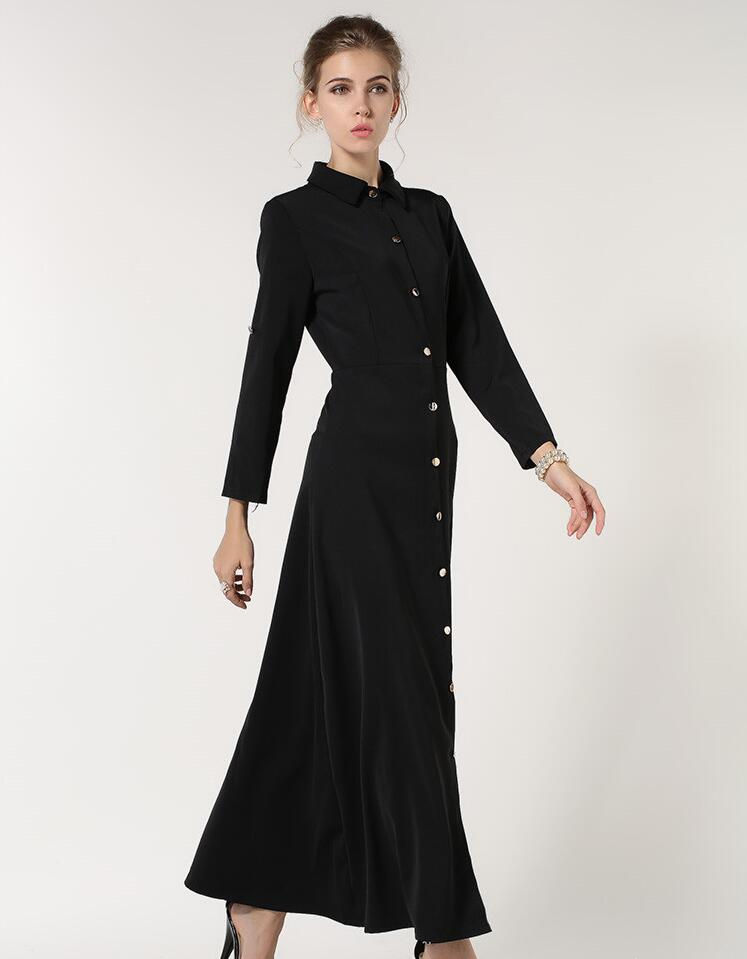 Nice good quality polyester fabric en islamic wom abaya islamic clothing womens outwear open button in front with belt Women Women's Abaya Women's Clothings