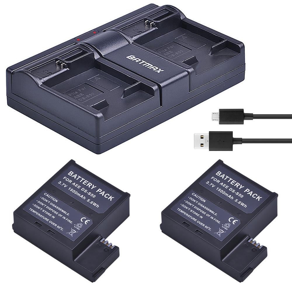 2 pcs 1500 mah DS-S50 DSS50 S50 Batterie Accu + USB Double Chargeur pour AEE DS-S50 S50 AEE D33 S50 s51 S60 S71 S70 Caméras Batterie