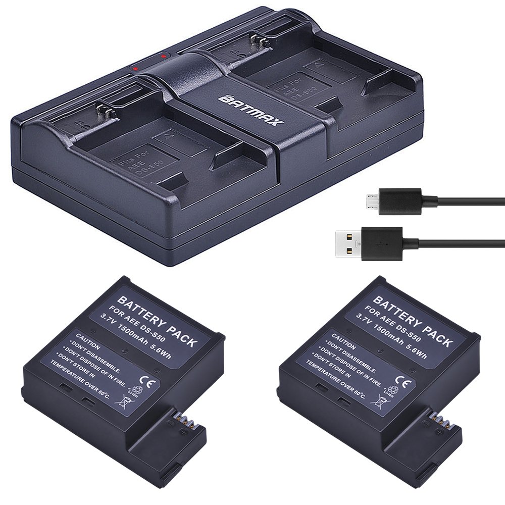 2Pcs 1500mAh DS-S50 DSS50 S50 Battery Accu + USB Dual Charger for AEE DS-S50 S50 AEE D33 S50 S51 S60 S71 S70 Cameras Battery
