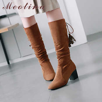 Meotina Winter Women Knee High Boots Fashion Tassel Thick Heels Fringe Western Boots Lace Up Lady Long Shoes Brown Black 34-43
