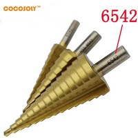 3Pcs 4 12 20 32mm Metric Spiral Flute Step HSS Steel 6542 Cone Titanium Coated Drill
