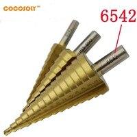 3 개 4-12/20/32 미리메터 메트릭 나선형 플루트 단계 HSS 스틸 6542 콘 티타늄 코팅 드릴 비트 도구 세트 구멍 커터