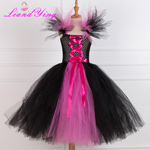 Black Evil Girl Tutu Dress Maleficent Queen Dress Handmade Cosplay Halloween Costume For Kids Girls Dresses posh dream mickey cartoon kids girl dress for cosplay pink and hot pink dot minnie girl tutu dresses flower girl cosplay dress