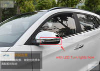 Lapetus Chrome Side Door Rearview Mirrors Cap Cover Trim Protection Kit Fit For Hyundai Tucson 2016 2019 ABS