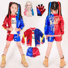 halloween costume for kids cosplay joker and girls harley quinn suicide squad costumes wig jacket T shirt shorts children child(China)