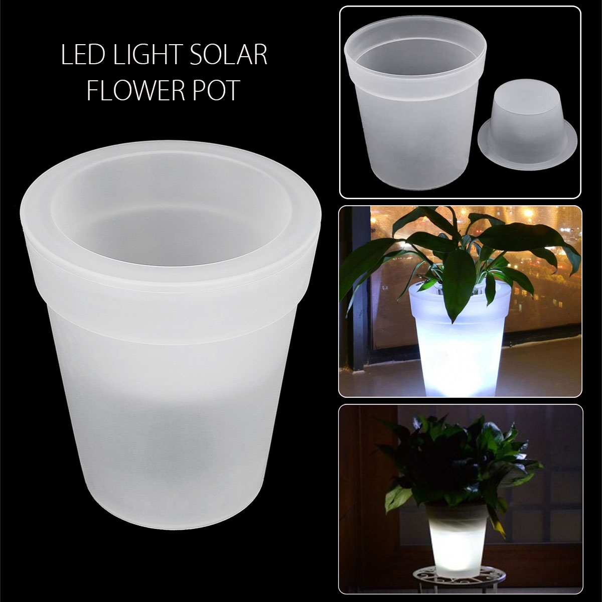 The Solar Illuminated Planter outdoor planter with a solar-powered LED Lights