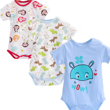 3pcs/lot One Piece Newborn Baby Bodysuits Girls Jumpsuits Cotton Summer Short Toddler Boys Print Clothes Baby Accessories