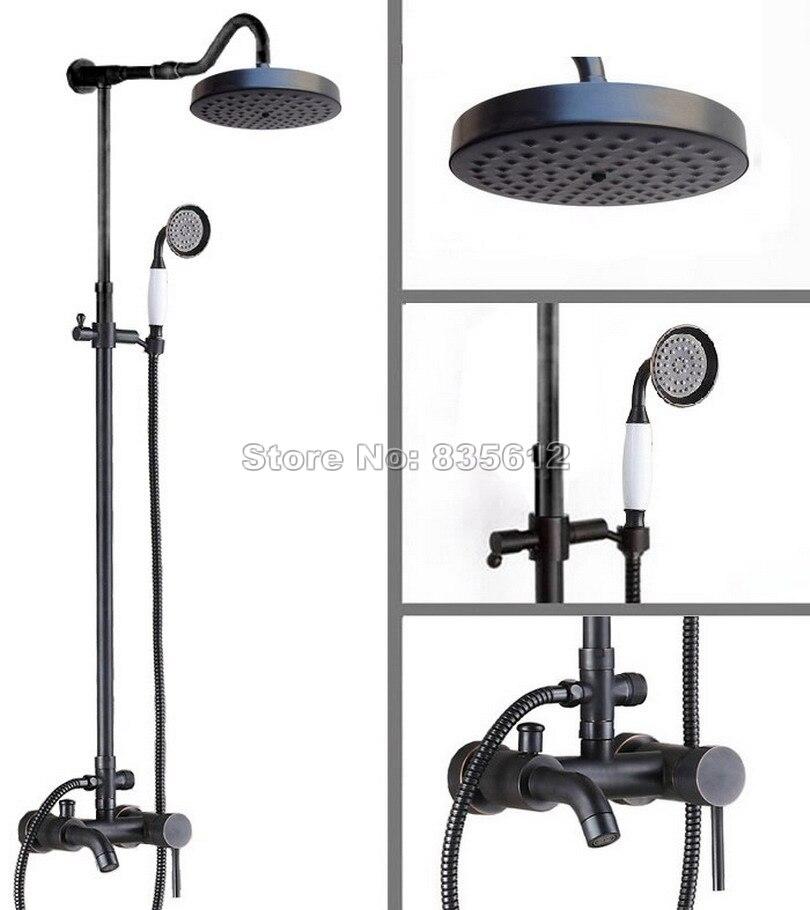 Black Oil Rubbed Bronze Bathroom Rain Shower Faucet Set with Single Handle Tub Mixer Taps + Ceramic Handheld Shower Head Wrs608