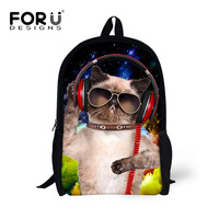Cute Music Cat Poodle Dog Print Girls School Bags Animal Kids Schoolbag for Teenagers Children Bookbag Women Travel Bag Mochila