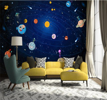 Custom wallpaper Nordic hand-painted space planet childrens room sofa TV background wall decoration waterproof material