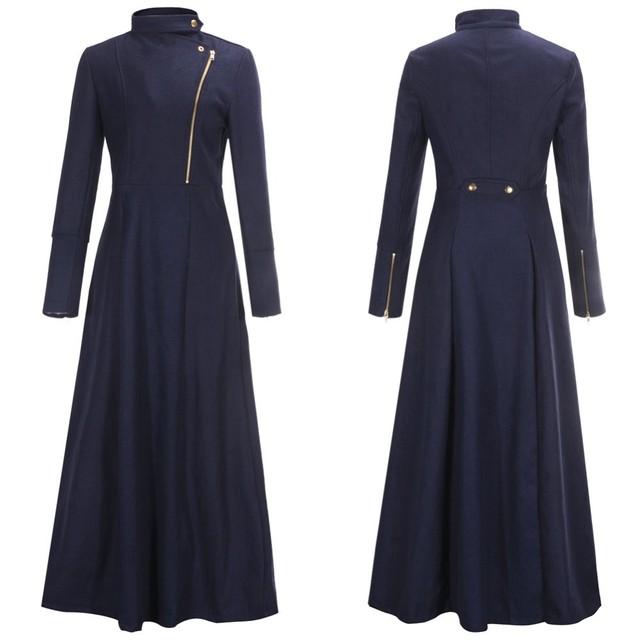 2015 vestuário Islâmico Muçulmano longo casaco para as mulheres casaco de lã com zíper plus size outwear quente Europeu roupas meninas magro djellaba