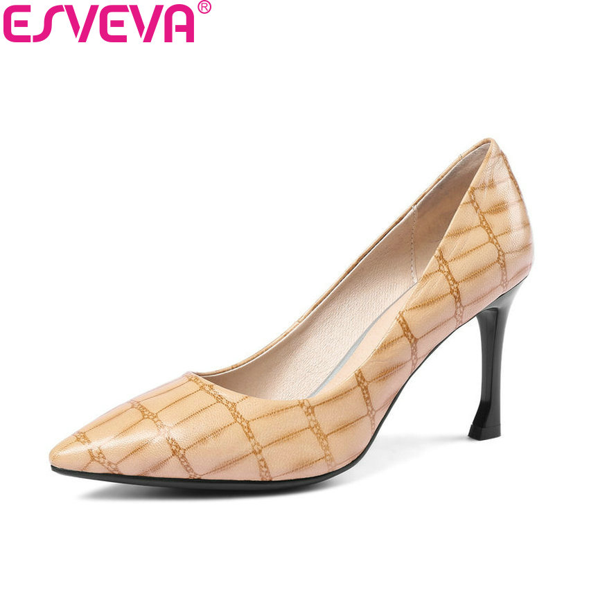 ESVEVA 2018 Women Pumps Vintage Style Sheepskin PU Thin High Heels Pointed Toe Sexy Pumps Slip on Shoes for Women Size 34-43 цена