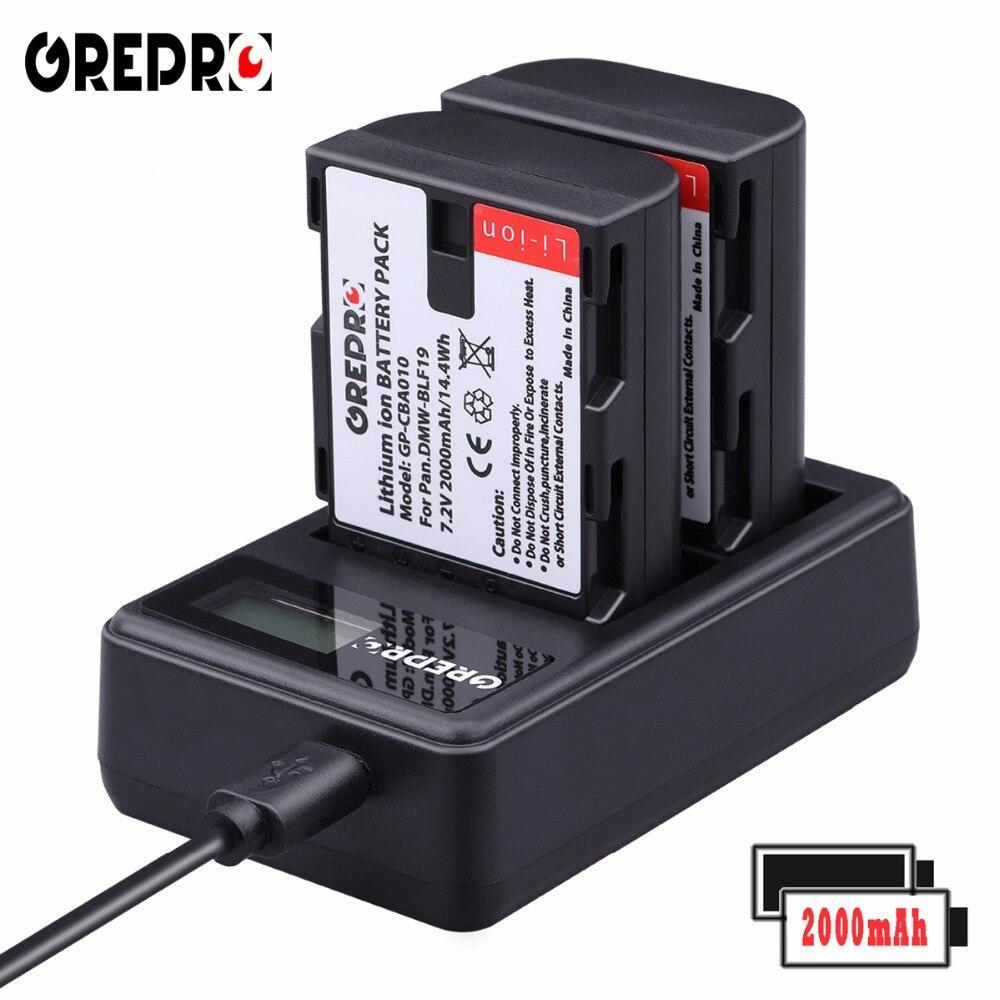 GREPRO 2pcs 2000mAh DMW-BLF19 BLF19 BLF19E BLF19e DMW-BLF19PP Camera Battery+LCD USB Charger for Panasonic Lumix GH3 GH4 GH5 G9 аккумулятор panasonic dmw blf19e