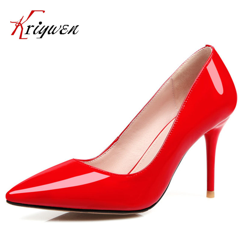 Fashion Sexy cowhide patent leather 9cm thin high Heels Women Pumps Pointed toe club career lady shoes Sapatos Plus size 31-45 siketu free shipping spring and autumn high heels shoes career sex women shoes wedding shoes patent leather style pumps g017