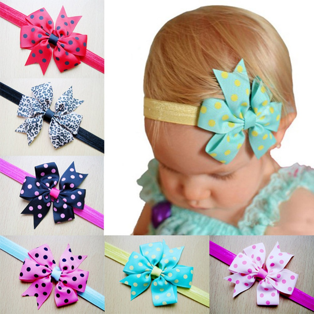 New Europe New Children Flower Hairband Polka Dot Butterfly Knot Flower Headband Color Randomly Delivered