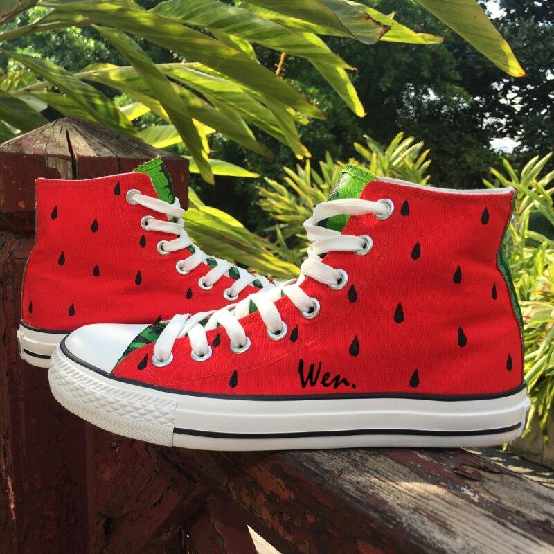 Individuelle Wassermelone Hohe In Original Frauen Schuhe Leinwand 20Off Design Männer Turnschuhe Handgemalte wen Us55 Serie Obst Top 2 Rot SzMpUV