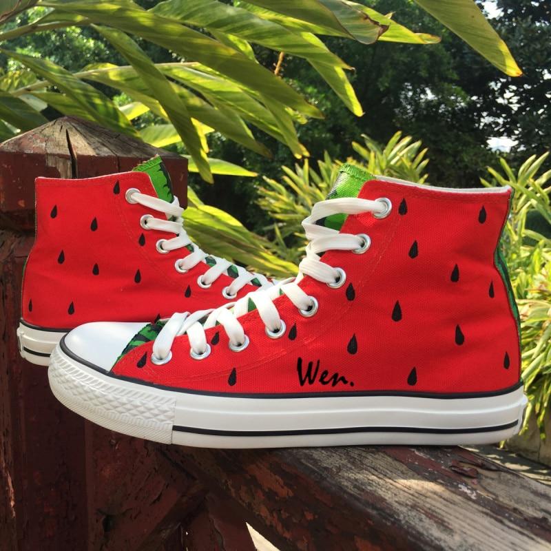 Wen Original Design Custom Hand Painted Shoes Fruit Series Watermelon Red High Top Men W ...