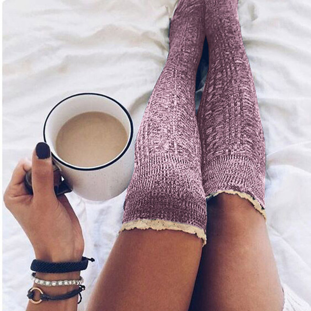 5a2e5859910 Warm Winter Womens Stocking Knitted Crochet Lace Trim Cotton Over The Knee  Socks Girls Boot Cuff Knee-Socking Thigh Hosiery Sock