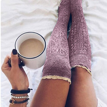 Warm Winter Womens Stocking Knitted Crochet Lace Trim Cotton Over The Knee Socks Girls Boot Cuff Knee-Socking Thigh Hosiery Sock