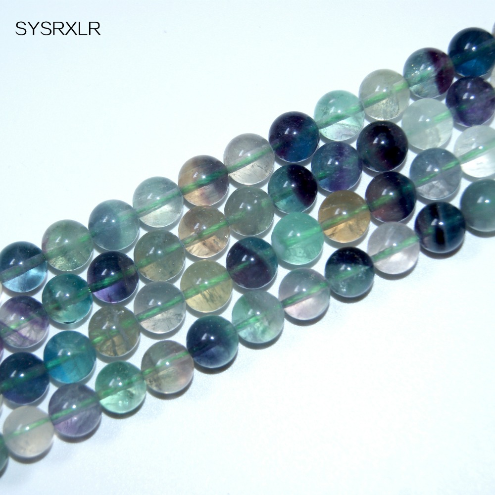 Wholesale Color Chart Round Natural Fluorite Stone For Jewelry Beads Which Do It Yourself Bracelet 6 / 8 / 10 / 12 MM Strands
