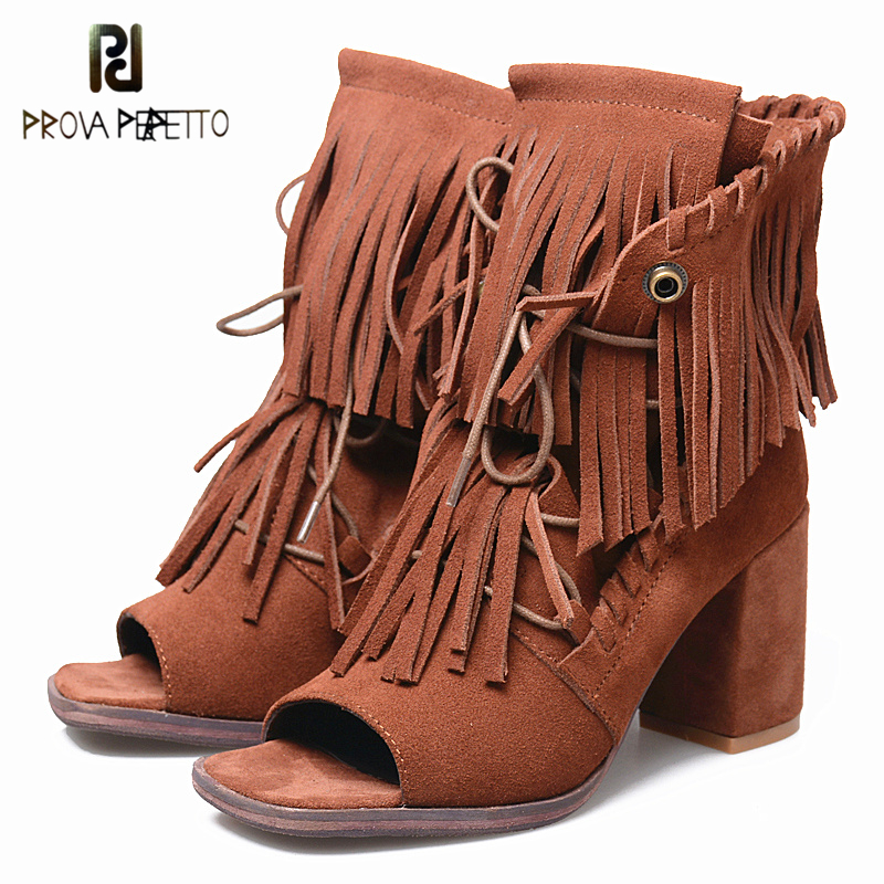 Prova Perfetto 2018 New Fashion Tassel Leather Summer Boots Fringe Peep Toe Sexy High Heels Boots Lace Up Ankle Heels Boots Chic hot selling chic stylish black grey suede leather patchwork boots mid calf spike heels middle fringe boots side tassel boots