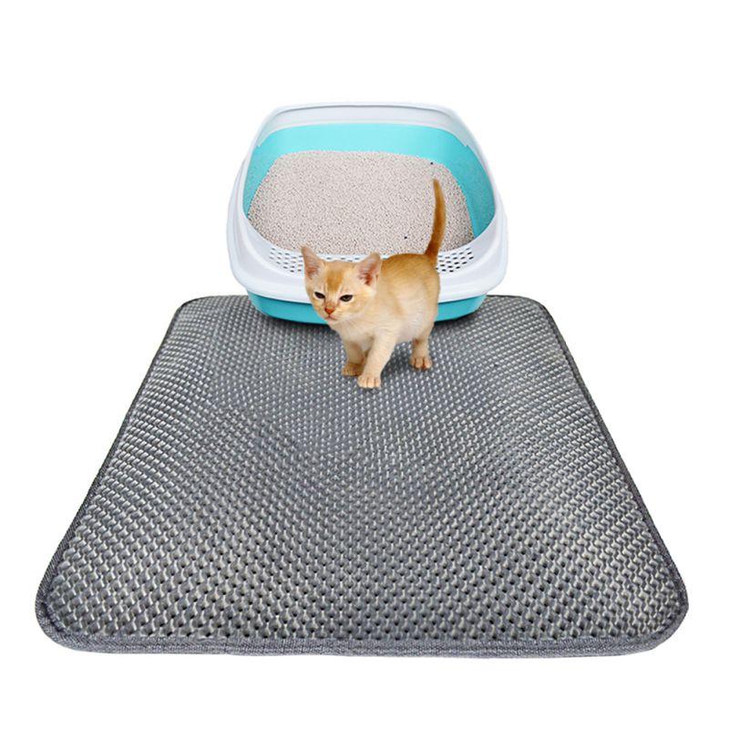 Anti Slip Cat Litter Mats Durable Waterproof Bottom Lightweight Easy Clean Pet Supplies Double Layer Elastic Eva Cat Mat