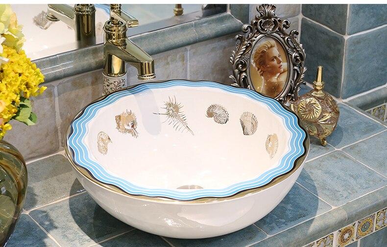 Ronde westerse antieke chinese keramische gekleurde badkamer