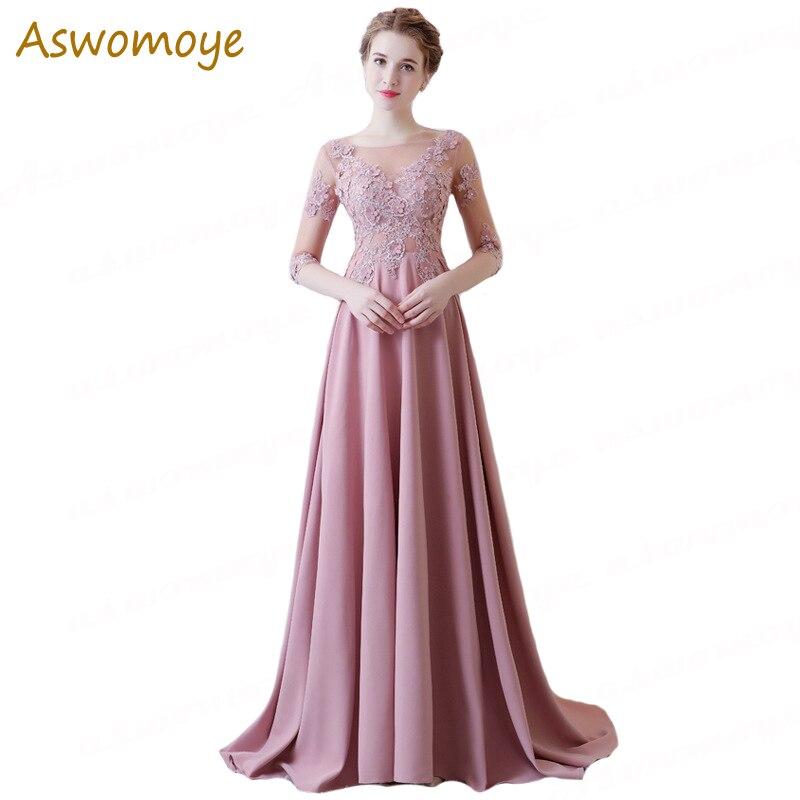 Spring 2019 New Women   Evening     Dress   Half Sleeve Illusion O-neck Slim Elegant Party Prom   Dress   Appliques Flower Beads Sweep Train