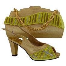 Hohe Qualität Mode Strass African Schuhe Und Taschen Für Hochzeit Party Heels Pumps Italienische Schuhe Taschen MM1017