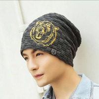 2016 New Arrived Warm Hat Cap Skullies Beanies Autumn Winter Knitting Hats For Men Headdress Bear