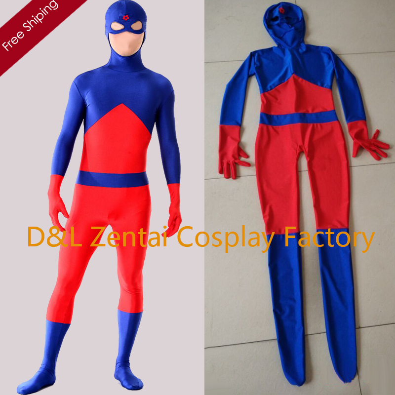 Free Shipping DHL DC Comics Atom Ray Palmer Superhero Costume Fullbody Lycra Spandex Halloween Costume SP1605