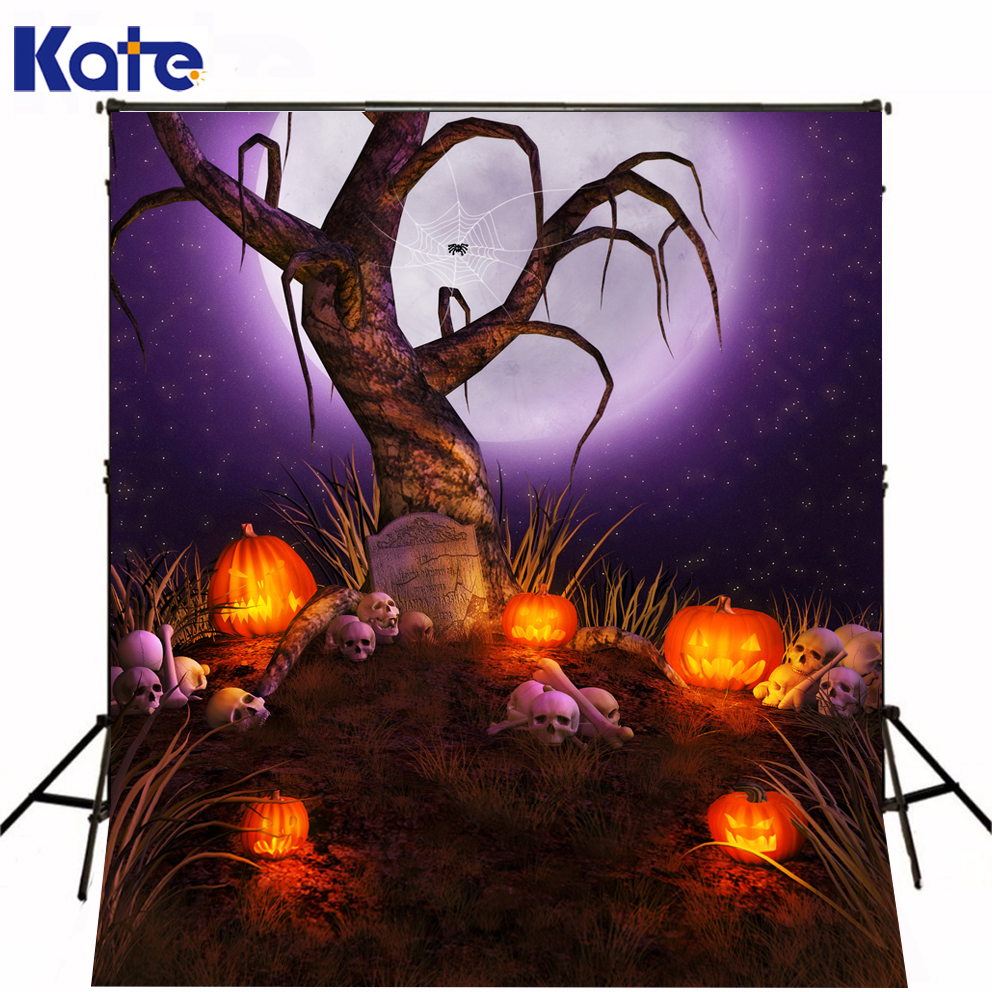 Photo Studio Backdrop Thick Clothe Fire Pumpkin Fantasy Photo Backdrops Purple Night Withered For Party Kate Background Backdrop allenjoy background for photo studio full moon spider black cat pumpkin halloween backdrop newborn original design fantasy props