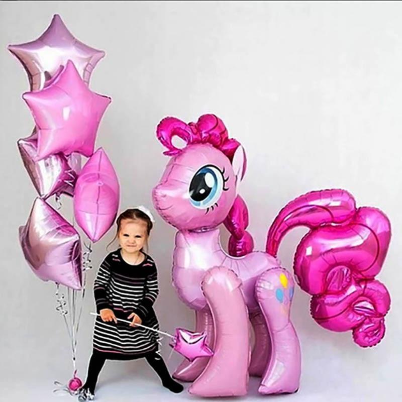 1PC 100*97CM Pink Pony 3D Little Horse Unicorn Balloons Happy Birthday Unicorn Party Helium Foil Balloon Kids Animal Toys Globos