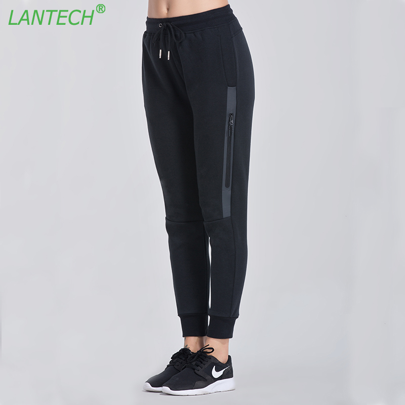 LANTECH Women Running Pants Jogging Sports Zipper Yoga Sportswear Pocket Run Fitness Exercise Gym Long Pencil Pants Clothes slimming narrow feet zipper fly special cross print purfle pocket men s casual long pants