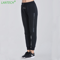 LANTECH Women Running Pants Jogging Sports Zipper Yoga Sportswear Pocket Run Fitness Exercise Gym Long Pencil Pants Clothes