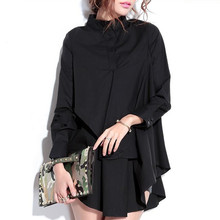 New Autumn Summer Women Blouses Tops Black White Long-sleeve Female long loose irregular Double flounced Shirt Plus Size L-XXXL