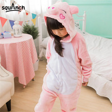 Lovely Pig Onesie Kids Pajama Animal Cartoon Children Party Suit Winter Warm Soft Flannel Sleepwear Girl