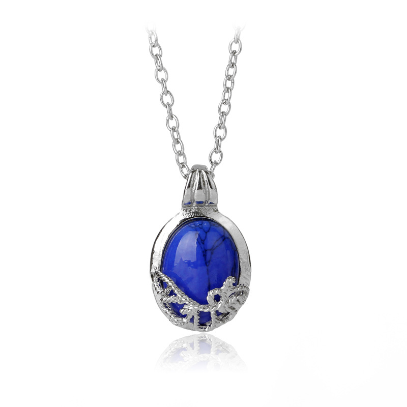 FWORLD Vintage blue stone Sun Protection spell necklaces