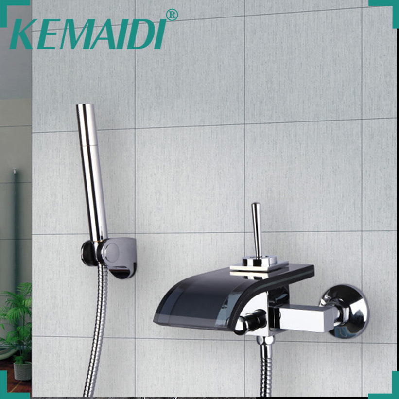 KEMAIDI Construction& Real Estate Black Glass Tap Wall Mounted Waterfall Brass Basin Bathtub Mixer With Handle Spray Faucet стойка для акустики waterfall serio hurricane black