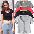 2015 Spring and Antumn American Leisure Fashion Button Cardigan Slim t shirts Girls Solid Crop Tops Womens Apparel Free Shipping