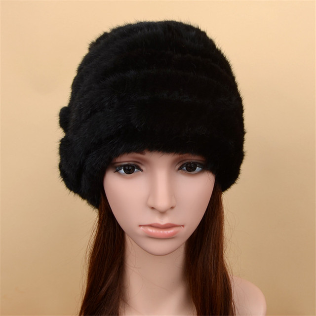 Women's Winter Mink Fur Hats Female Knitted Beanie Cap Hold  Ear Ears Hat Pineapple Real Fur Caps