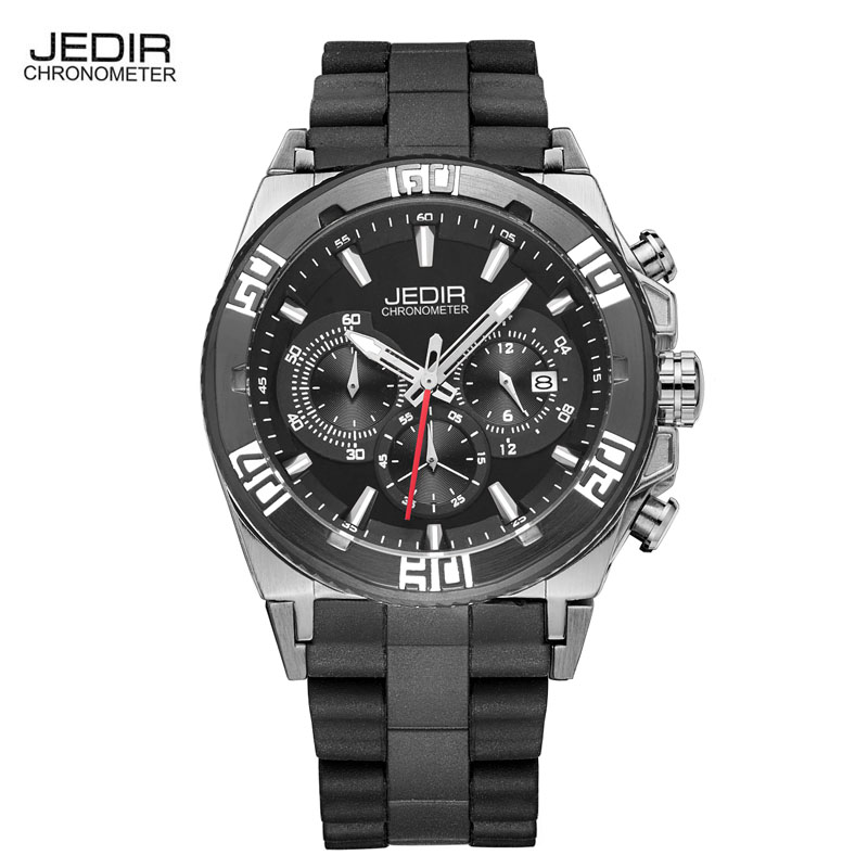Original Luxury Brand JEDIR Watches Men Outdoor Sport Military Quartz Watch Men Casual Silicone Band Large Dial Wristwatch 2016 jedir brand luxury watches men army military silicone watch male casual sport relogio waterproof chronograph quartz wristwatch