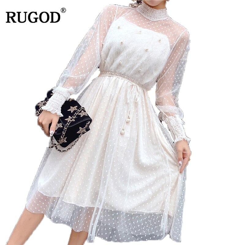 RUGOD  Hot Sale Stylish Dotted Dress Women Long Sleeve O-neck Knitted Dress Fashionable Mid-calf  Autumn Vestido de mujeres stylish round neck long sleeve stereo flower embellished knitted dress for women