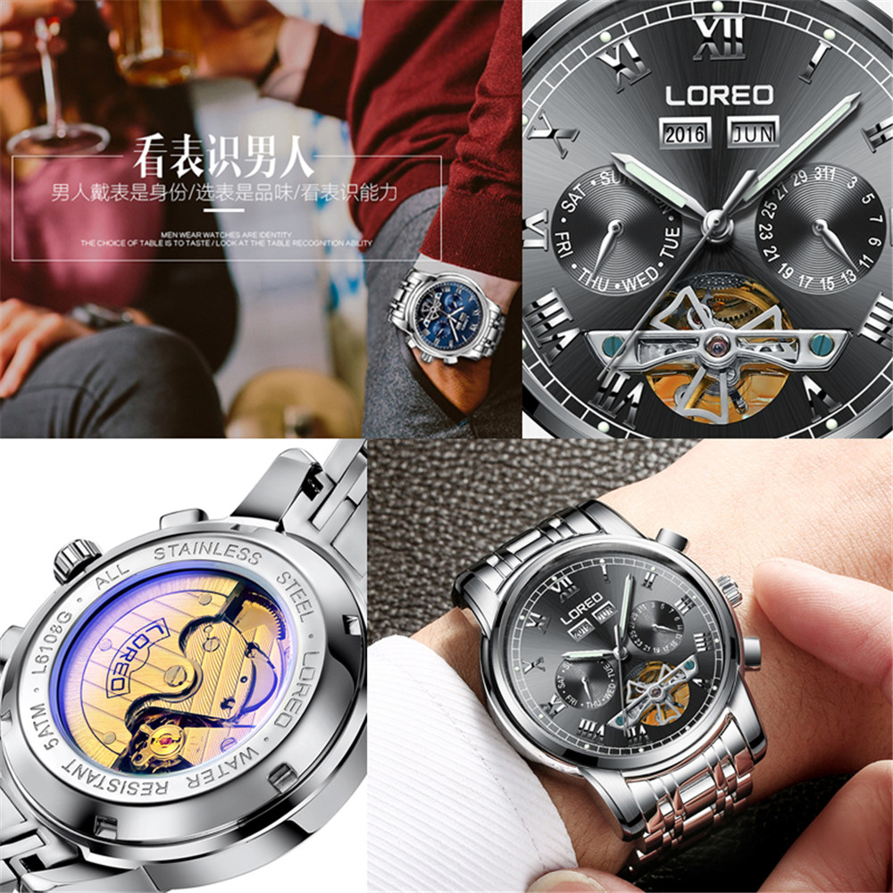 2019 marque de luxe LOREO Tourbillon montres hommes montres mécaniques saphir étanche 50m mode hommes montre heures Relogio - 5