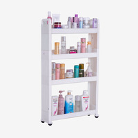 Four Layers Home Organization Cosmetics Toiletries Storage Rack Spice Drink Bottles Crack Rack Shelf with Casters DQJ019/20